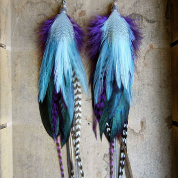 SALE 20 Percent OFF the ENTIRE shop - Moon Shadow Extra Long Feather Earrings