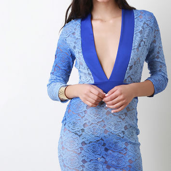 Semi-Sheer Floral Lace Bodycon Dress