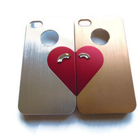 Slim fit Iphone 4/ Iphone 4s case- Metallic silver and gold couples set- Free shipping