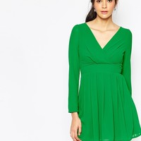 Wal G Wrap Front Dress with Long Sleeves at asos.com