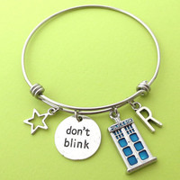 Personalized, Letter, Initial, Police, Box, Don't drink, Star, Bangle, Doctor who, Bracelet, Birthday, Friends, Christmas, Gift