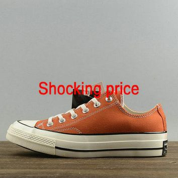 2018 Legit Cheap Unisex Converse Chuck Taylor All Star 1970s Low Cadmium Orange White 157570 fashion shoe