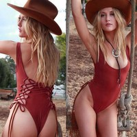 hollow out backless strappy one piece swimsuit swimwear