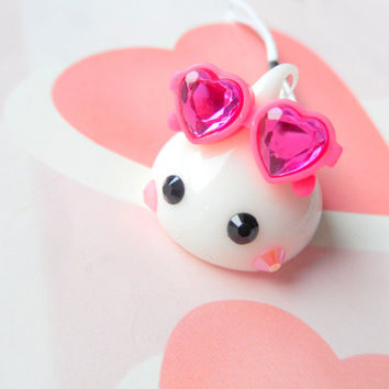 Sun Glasses White Hoppe Chan Squishy Charm, Soft Dolls, Cute Phone Charm, Kawaii Dust Plug Charm, Kawaii Keychain, Silicone Charm, Cute Gift