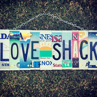 Love Shack License Plate Art, #Valentines Day gift #Gift for her #Anniversary Gift #Special Occasion Gift #Home Decor