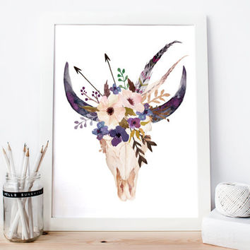 Cow skull, floral skull, bull head print, boho wall art, bull horns, southwestern art, tribal print, tribal wall art, cow skull wall art