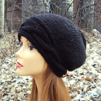 Women Winter Hat Slouchy Hat Beanie Knit Slouchy Cabled Black Hat Chunky Beanie Women Fall Winter Clothing Accessories Valentine's Day Gift
