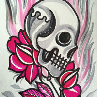 flamin skull n roses in pink and silver by sarah de azevedo tattoo flash art