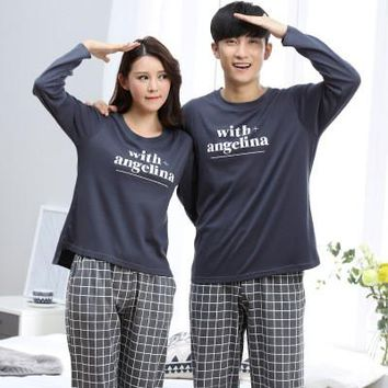 pyjama licorne long sleeve Lovers pajamas men &women sleepwear Warm 100% Cotton Leisure Home clothes loose couple pajamas set