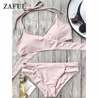 ZAFUL New Women Cut Out Halter Wrap Bikini Set Sexy Low Waist Crossover Front Swim Crop Top and Bottom Summer Swimsuit Swimswear