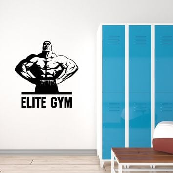 Vinyl Wall Decal Elite Gym Fitness Bodybuilding Sports Art Stickers Mural (ig5675)