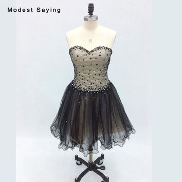 2018 New Sexy Champagne and Black Short Cocktail Dresses with Beads Girls Mini Homecoming Party Prom Gowns vestidos de coctel