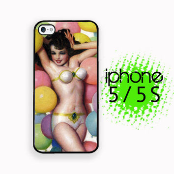 Balloon Babe Retro Pinup iPhone 5S Case | iPhone 5  Plastic or Rubber Hard Case White or Black Vintage Image