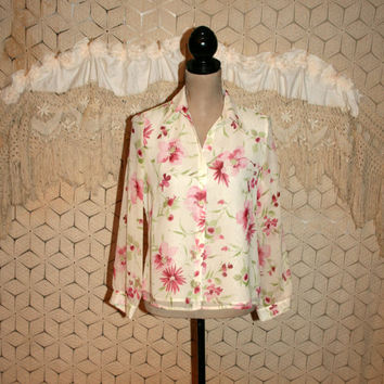 Floral Blouse Silk Blouse Spring Blouse Long Sleeve Blouse Cream Pink Floral Print Feminine Laura Ashley Size 8 Medium Womens Clothing