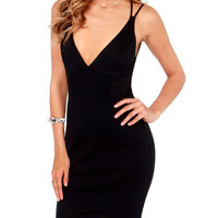 Black V-Neck Strappy Backless Dress