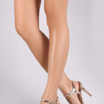 Shoe Republic LA Metallic Open Toe Faux Pearl Stiletto Heel