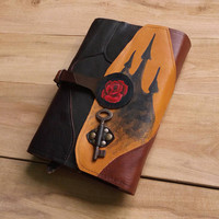 Dark Tower leather book cover, Stephen King genuine leather brown book cover, Rose patchwork book cover, Key fantasy book cover