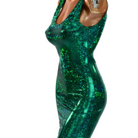 Green Shattered Glass Holographic Bodycon Tank Dress