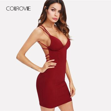 Women's Strappy Backless Fitted Cami Dress