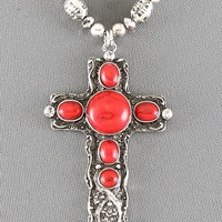 Silver Beads And Red Coral Cross Pendant Necklace Southwest Style