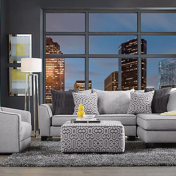 Ashford Landing Gray 3 Pc Sectional Living Room - Living Room Sets (Gray)