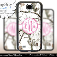 Snow Camo Pink Monogram Galaxy S4 case S5 RealTree Tree Winter Camo Personalized Samsung Galaxy S3 Case Note 2 3 Cover Country Girl