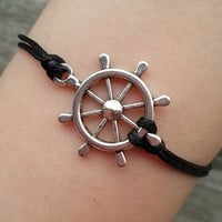 Rudder Bracelet, Marine Bracelet, Personalized Eco-friendly Charm Jewelry Gift Ideas