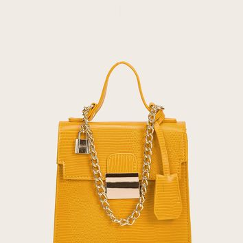 Croc Embossed Satchel Bag With Chain Handle