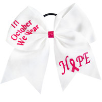Grossgrain Ribbon Breast Cancer Cheer Bow With Glitter Letter