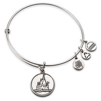 Disney Parks WDW Castle Charm Bracelet Bangle Alex & Ani Silver New With Tags