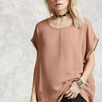 Sheer Cuffed-Sleeve Top
