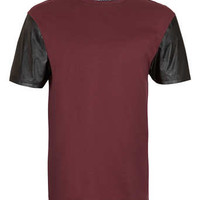 Burgundy leather Look Sleeve T-Shirt - Men's T-Shirts & Vests  - Clothing