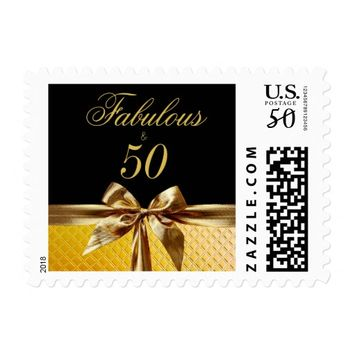 Fabulous and 50 Black Gold Bow sparkle Leather Postage