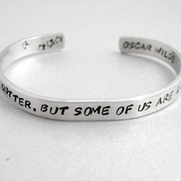 Oscar Wilde Bracelet - We Are All in the Gutter- 2-Sided Hand Stamped Aluminum Cuff - Gifts Under 20