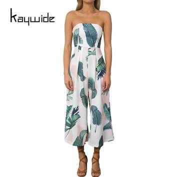 Kaywide Summer Strapless Women Jumpsuits Leaves Print Casual Ninth Rompers Womens Jumpsuit Loose Ladies Fit and Flare Overalls
