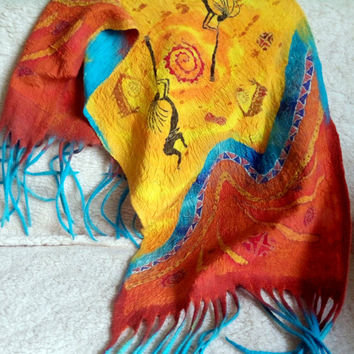 Spring sale! Handpainted scarf nunofelted shawl yellow felted wool Scarf Wet felted  Felt Wrap tribal art unique womens scarves art to we...