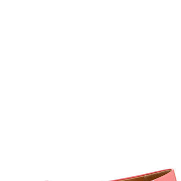 City Classified Sadler Salmon Patent Pointed Flats