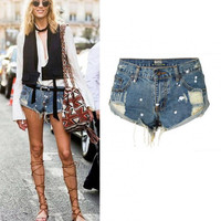 Suvance Dots Turned Cuff Holes Denim Cotton Summer Jeans Shorts