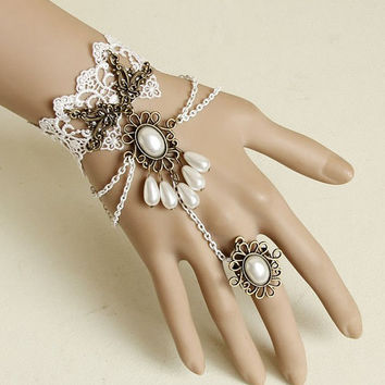 Holiday SALE!!25%OFF!Elegant Gothic Vintage White Lace Bracelet With Filigree White Droplet Pendant Ring.Perfect Wedding Jewelry