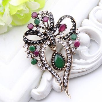 Free Shipping - Hollow Bouquet Bow Style Antique Gold Plated Multi Color Resin Brooch