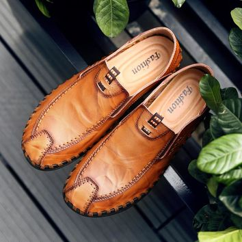 Brand Luxury Designer Sneakers Men Genuine Leather Shoes Loafers Flats Moccasins Men Casual Oxford Shoes Adult Male Footwear