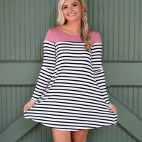 Black & White Striped Dress With Dusty Pink