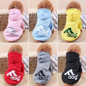 Adidas Dog Hoodie All Seasons Party Costume Soft Uniform Coat Clothes Hoodie For Pet D