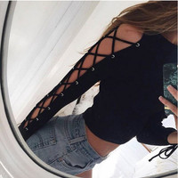 Black Drawstring Lace Sleeve Shirt B0013990