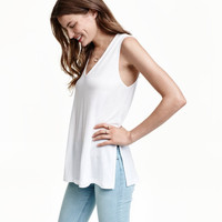V-neck Lyocell Top - from H&M