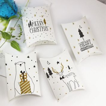 Merry Christmas Candy Gift Boxes Deer&Xmas Tree Guests Packaging Boxes Gift Bag Christmas Party Favors Kids Gift Decor Pillow