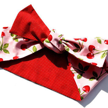 Vintage Inspired Head Scarf, Red Cherries and Polka Dots, Retro, Rockabilly
