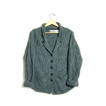 Chunky Wool Knit Cardigan Sweater Aran Crafts Irish Fisherman's Sweater Sage Green Button Up Cable Knit Pockets Oversized Made in Ireland XL