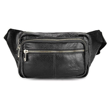 Men Genuine Leather Multi-pocket Vintage Zipper Waist Bag