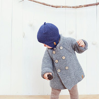 Grey hooded baby coat / Hand knitted grey wool sweater / Baby / Kids / Children Cardigan / Duffle Coat / toddler sweater